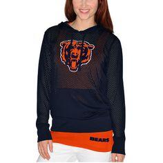 Women's Chicago Bears Navy Holey Hooded T-Shirt & Tank Top Set