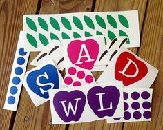 Apple Initial Decal  DIY Kit  by FourWinks on Etsy