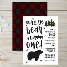 Little Bear First Birthday Invitation/One Lumberjack/Fall