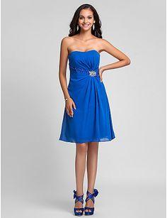 Bridesmaid Dress Knee Length Chiffon A Line Strapless Dress – USD $ 79.99