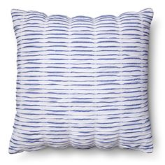 "Casual and comfortable, the Threshold Blue Seersucker Throw Pillow in Blue/White sets the right tone in your home. The accent pillow is white with blue stripes and a gathered technique to add some crinkled interest to the piece. The pillow is made of a cotton-poly blend and measures 20"" square."