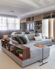 Sofás modernos: 80 modelos cheios de estilo e conforto para a sala - Home - Wooden Sofa Designs, Leather Sofa Living Room, Sofa Design, Elegant Living Room Design, Modern Sofa Living Room, Corner Sofa Design, Modern Sofa Designs, Sofa Set, Living Room Sofa Design