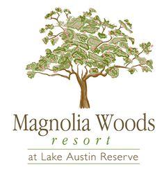 Magnolia Woods Resort at Lake Austin Reserve logo design by FliteHaus Creative Agency