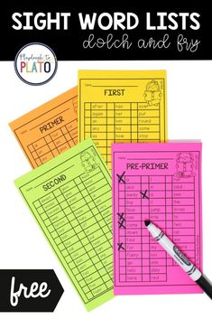 Sight Word Lists - Playdough To Plato
