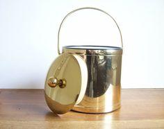 Vintage Gold Ice Bucket Hollywood Regency Retro