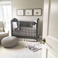 Grey and white gender neutral nursery with jungle animals #nurserydecor #nurseryideas