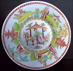 Chinoiserie Saucer, Architectural Draughtsman, Antique 19th C English