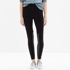 Paneled with soft faux leather and finished with an ankle zip, these pull-on ponte leggings are just so cool.