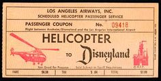 Vintage Helicopters wish I still had mine, first flight ever was from Disneyland to LAX to catch a flight to SFO. Disneyland Tickets, Disneyland Hotel, Vintage Disneyland, Disneyland History, Old Disney, Disney Love, Disney Magic, Disney Stuff, Disney Parks