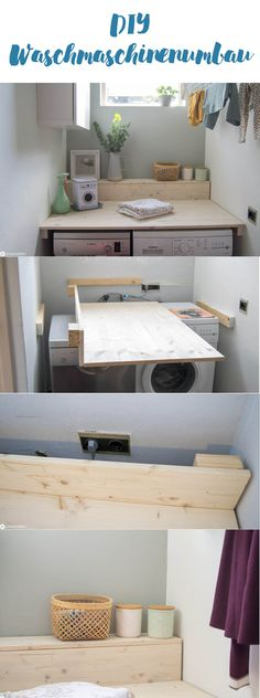 DIY DIY washing machine cladding – a simple washroom make over for more order and storage space – quickly made with great effect. Make your own washing machine cover – Laundy Room DIY machine cover machine cover Laundy Room, Interior Styling, Interior Design, Inside Design, Home Furnishings, Home Furniture, Family Room, Sweet Home, New Homes