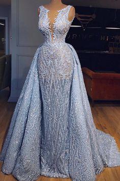 Elegant Blue Lace Sleeveless Deep V Neck Prom Dress Party Dress - Dresses party - V Neck Prom Dresses, Prom Party Dresses, Sexy Dresses, Fashion Dresses, Wedding Dresses, Dress Party, Prom Gowns, Tulle Wedding, Occasion Dresses