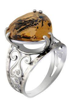 Sterling Silver Whiskey Quartz Trillion Ring