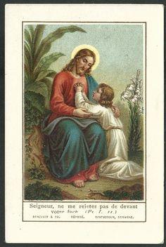 Estampa antigua de Jesus andachtsbild santino holy card santini Catholic Prayers, Vintage Holy Cards, Jesus Painting, Holy Quotes, Heart Of Jesus, Prayer Cards, Jesus Cristo, Sacred Heart, Christ