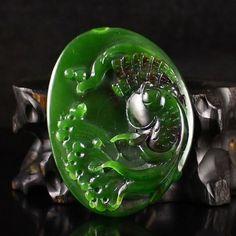 Chinese Natural Green Hetian Jade Pendant w Fish
