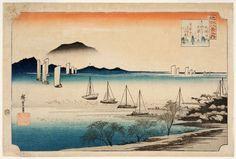 Sailing boats returning to Yabase, (circa 1834), Eight views of Lake Biwa by Hiroshige Andô/Utagawa :: The Collection :: Art Gallery NSW