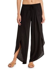 TQCH5 Tori Praver Swimwear Justina Split-Front Wide-Leg Coverup Pants, Black