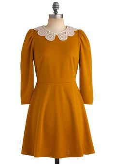 Gourd Garden Dress - Yellow, Solid, Crochet, Cutout, Lace, Peter Pan Collar, A-line, Long Sleeve, Party, Work, Casual, Vintage Inspired, Fall, Short