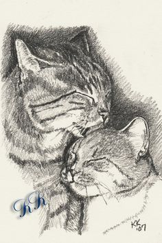 ACEO PRINT 2 Cats Pencil Drawing Cat and Kitten by OneKeeneKat, $3.99