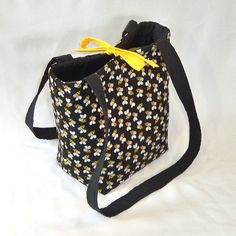 Bee Purse Black Yellow Bumble Bee Fabric by ColleensDesigns