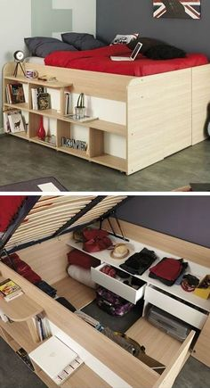 Beds that lift up to expose storage areas underneath are increasing in popularity with small apartment dwellers. Custom designs can include racks for shoe organization, drawers, and even hanging racks to help keep your clothes organized!