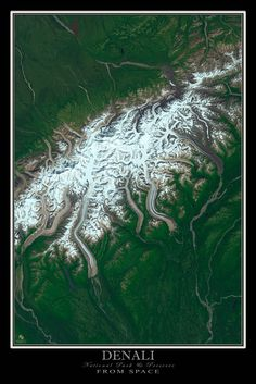 Denali National Park & Preserve Alaska Satellite Poster Map