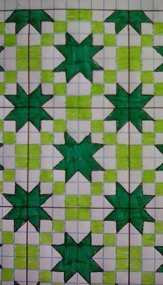 Dibujo geometrico Graph Paper Drawings, Graph Paper Art, Star Quilt Blocks, Star Quilts, Pixel Drawing, Irish Chain Quilt, Geometric Drawing, Graph Design, Quilt Festival