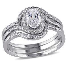 1.93 CT. T.W. Halo Cubic Zirconia Swirl Bridal Set in Sterling Silver - (5), Women's, White