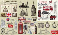 Retro London Theme Vector Material