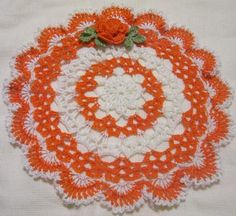 Note: Please read my store front announcement before purchasing. Measures around 10 inches.Smoke and pet free home. Crochet Pumpkin, Crochet Fall, Holiday Crochet, Hand Crochet, Free Crochet, Doily Patterns, Crochet Patterns, Doily Art, Diy And Crafts
