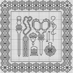 BLACKWORK-esquemas - I want this on a bet favor! Silver thread on green linen. Motifs Blackwork, Blackwork Cross Stitch, Biscornu Cross Stitch, Blackwork Embroidery, Cross Stitch Charts, Cross Stitch Designs, Cross Stitching, Cross Stitch Embroidery, Embroidery Patterns