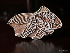 Indian Handmade wood stamps are a unique combination of Art, Skill & Functionality!    This lovely wood stamp features a Goldfish, beautifully
