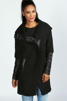 Lydia PU Collar Oversized Wool Mix Biker Coat at boohoo.com