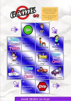 Game Board 24  Contents-Game Review booklet and theme flashcards.  Contains Everyday English, game review, grammar summary and worksheets.  Everyday English: Do you need my keyboard today, Bella? Yes, may I borrow it? Please? Sure, what time do you start your lesson? I start my lesson at 12.20pm.  Theme: Downtown Verbs drink, bake, shop, meet, exercise, buy, mail, watch.    Grammar: Present Continuous  I am watching a movie now. What are you doing?  Are watching a movie?