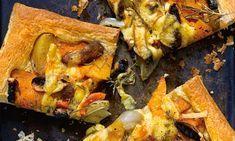 Squash, shallot and mushroom tart: 'This glorious, golden, autumnal supper is very easy to put together.'