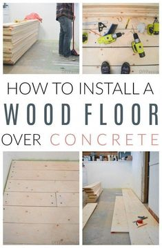 Inside: How to lay a wood plank subfloor over a concrete basement slab; explains how to use tapcon masonry screws hammer drill and how to lay the floors in a pattern. - July 06 2019 at Diy Wood Floors, Diy Flooring, Plank Flooring, Wood Planks, Concrete Floors, Flooring Ideas, Concrete Basement Walls, Hardwood Floors, Porch Flooring