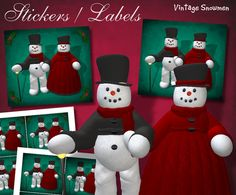 Charming Vintage Snowmen Lord & Lady Frost Stickers  Digital - Digital Download by DinkyPrints