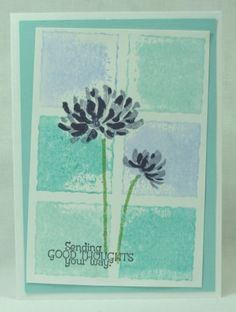 Nice color blocking -- use ink & a block image stamp. Color the blocks with markers, spritz with water & stamp to make the background.