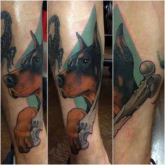 Doberman tattoo by Doberman Tattoo, Neo Tattoo, Neo Traditional Tattoo, Dobermans, Tattos, Unique, Tattoo Ideas, Animals, Top