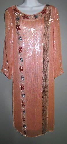 Authentic Gatsby 20's Flapper Dress Silk Crepe Beaded Sequins Beautiful | eBay