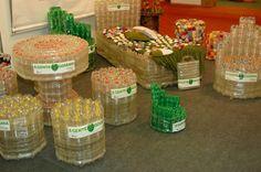 Puff de Garrafa Pet / Faça você mesma / ottoman by recycling old plastic bottle / DIY ottoman