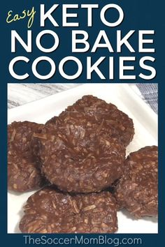 No-Bake Keto Cookies - Keto Brownies - Ideas of Keto Brownies - Our most popular recipe of all time & my go-to guilt-free treat! These chocolate & peanut butter Keto no bake cookies are super easy and so rich and delicious! Biscuits Keto, Cookies Et Biscuits, Keto Brownies, Keto Fudge, Coconut Flour Brownies, Coconut Flour Cookies, Low Carb Sweets, Low Carb Desserts, Diabetic Desserts