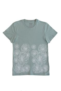 Flower Power: Hand Printed 100% Organic Cotton Original Mushpa + Mensa Design Faded Teal T-Shirt #flowers #flowerpower #organiccotton #lesbianowned #alternativeapparel #mushpamensa #mushpaymensa #mushpa #mensa #freehand #organic #flower #magic Dried Lavender Flowers, Custom Fonts, Silk Screen Printing, Alternative Outfits, Teal Colors, Hanging Art, White Ink, Friends In Love, Cotton Tee