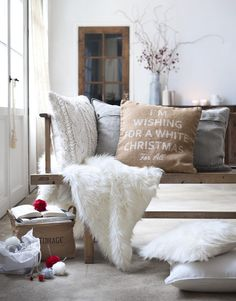 """Must get that pillow! And the sweater pillow!  { silkscreen pillow """" I'm dreaming of a white christmas """"; accessory }"""