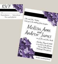 Purple Hydrangea Printable Wedding Invitation and by RobynDesigns, $25.00