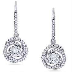 Miadora 14k White Gold 1/2ct TDW Diamond Dangle Earrings (G-H, SI1-SI2) | Overstock.com