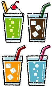 カフェイラスト無料素材 手描き風カフェドリンクイラスト クリームソーダ アイスコーヒー ソーダ水 炭酸水 オレンジジュース lcecoffee creamsoda orange juice free clipart