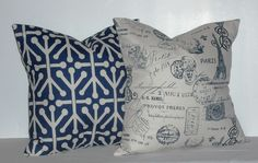 18x18 Inch Decorative Pillows 1 Navy/Natural Geometric and 1 Navy/Natural French Stamp Accent Pillow - 18 inch square - TWO PILLOW COVERS. $26.00, via Etsy.