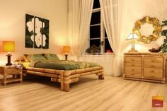 Wyjątkowe łóżko z jasnego bambusa