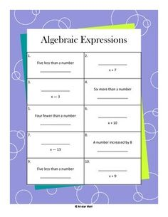 These worksheets include one and two-step algebraic expressions, with a key!  I have included adding, subtracting, multiplying, and dividing of whole numbers for beginning learners or those who need extra practice.  I love to use these as quick assessments, skill practice, and as warm-up activities.  *Please remember that you do earn credits toward your next purchase each time you leave feedback!