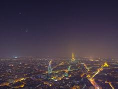 Venus as the evening star over Paris. Venus is the topmost star, then the Moon, then Jupiter. March 31, 2012. Image credit and copyright: Serge Brunier.